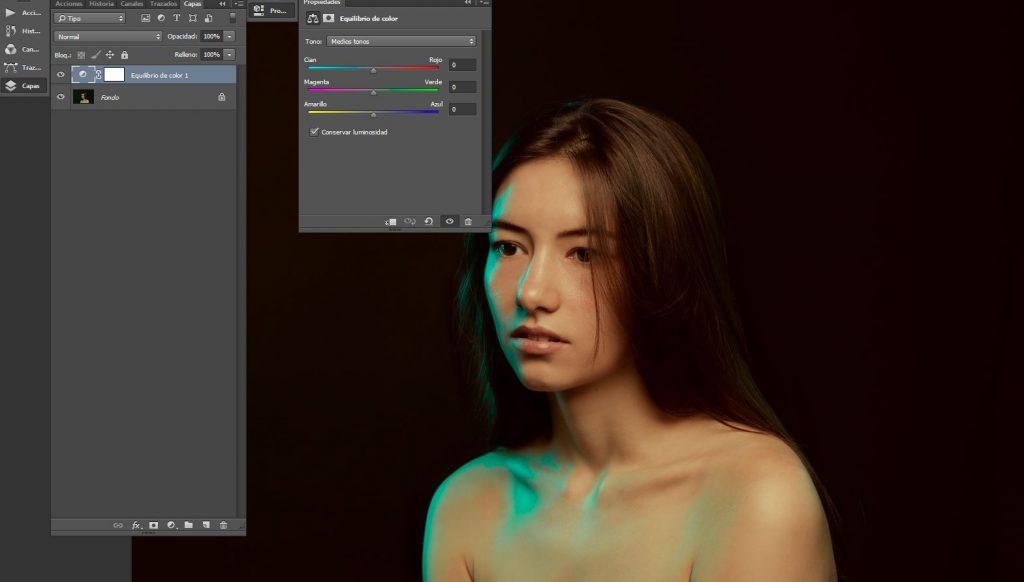 iris encina equilibrio de color photoshop